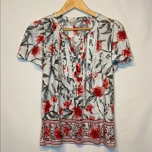 Lucky Brand Boho Floral  Shortsleeved Top Small